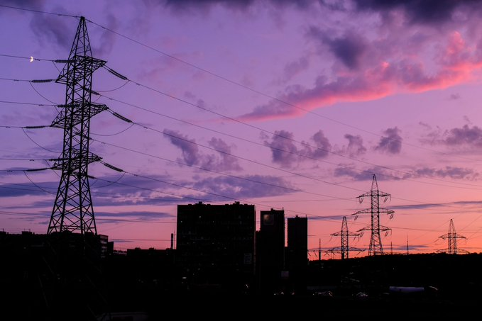 Image Of Energy Lines At Sunset